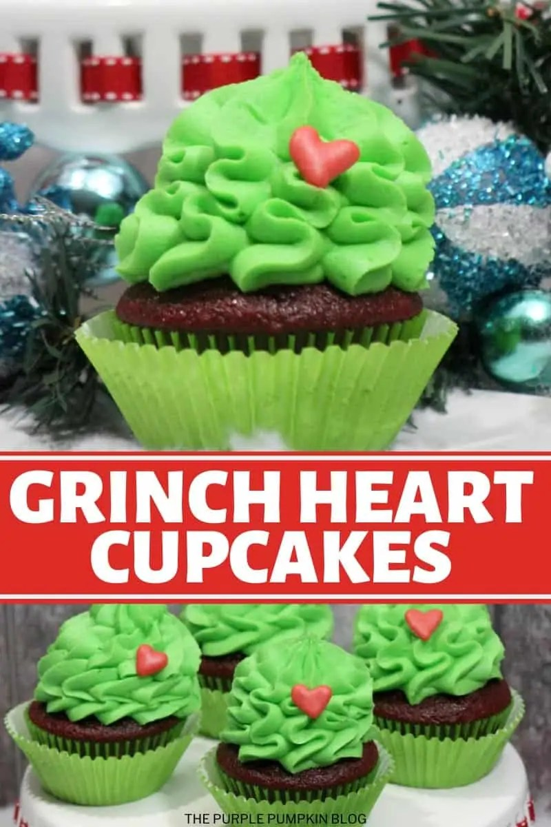 Grinch Heart Cupcakes