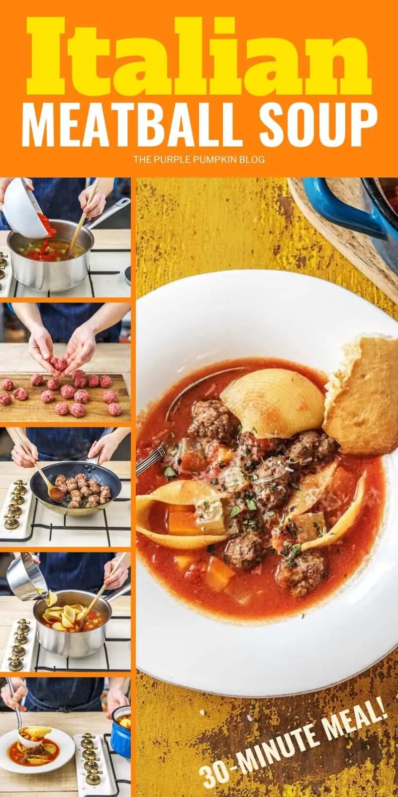 Step by step photos of how to make meatball soup.