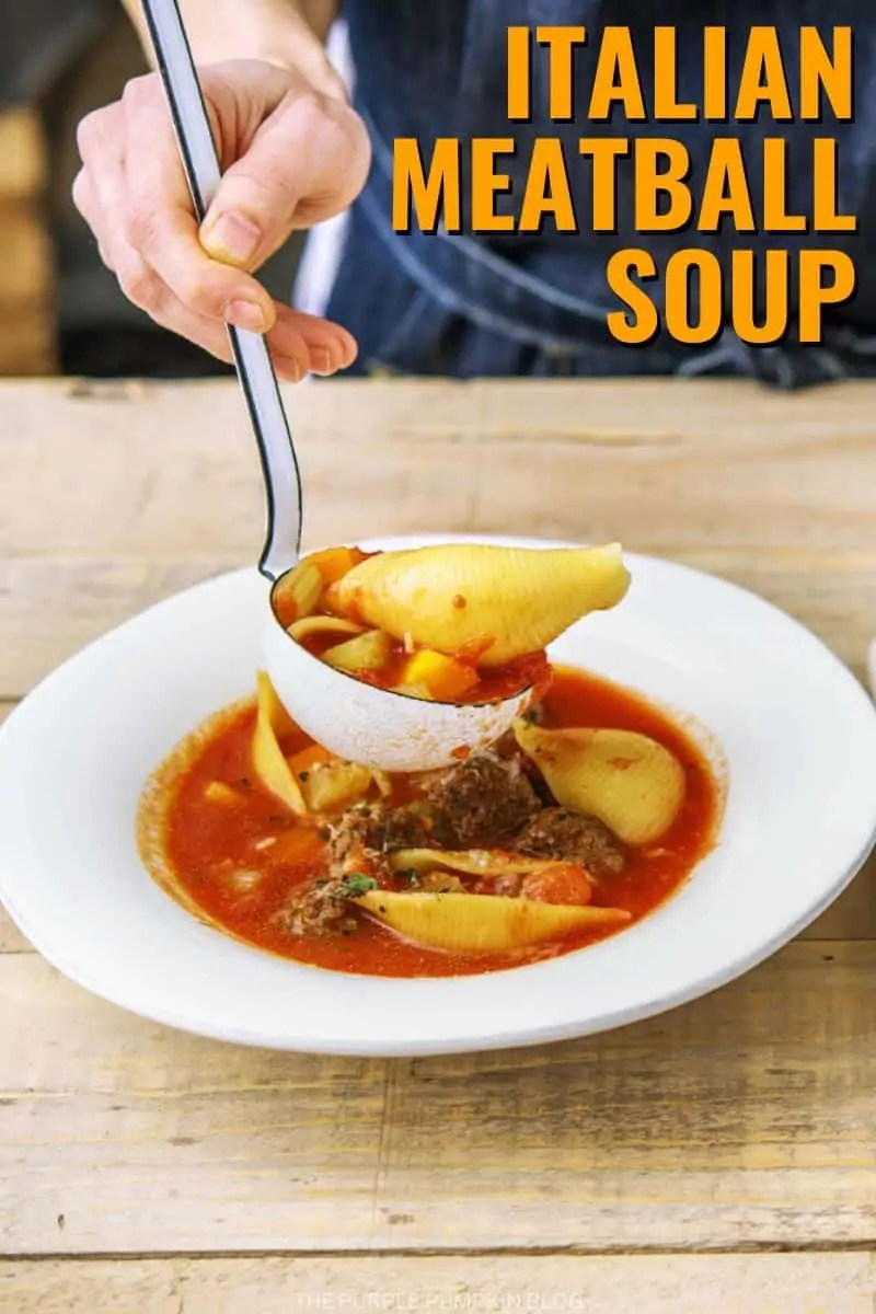 Serving up a bowl of meatball soup