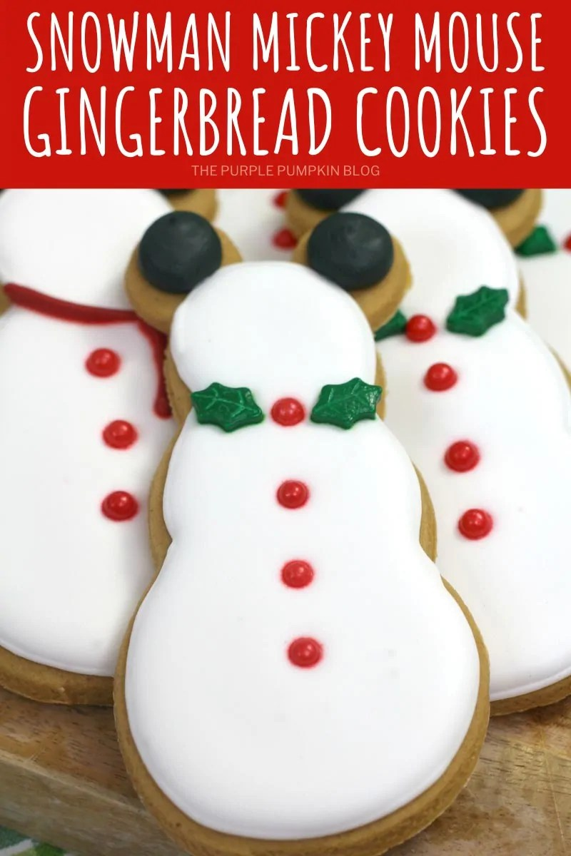 Snowman Mickey Mouse Gingerbread Cookies