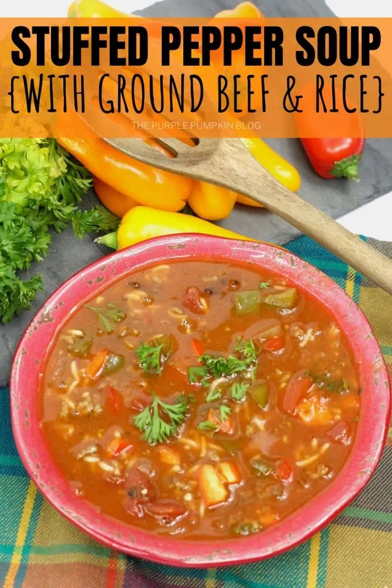 Stuffed Pepper Soup with ground beef and rice