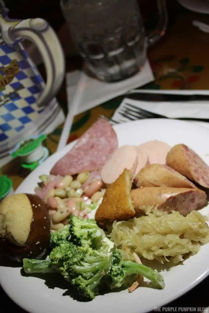 Plate of food from the German buffet at Biergarten