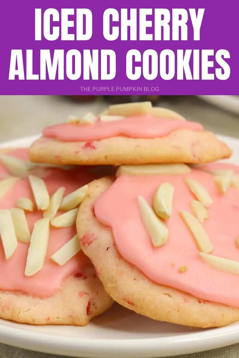 iced cherry almond cookies