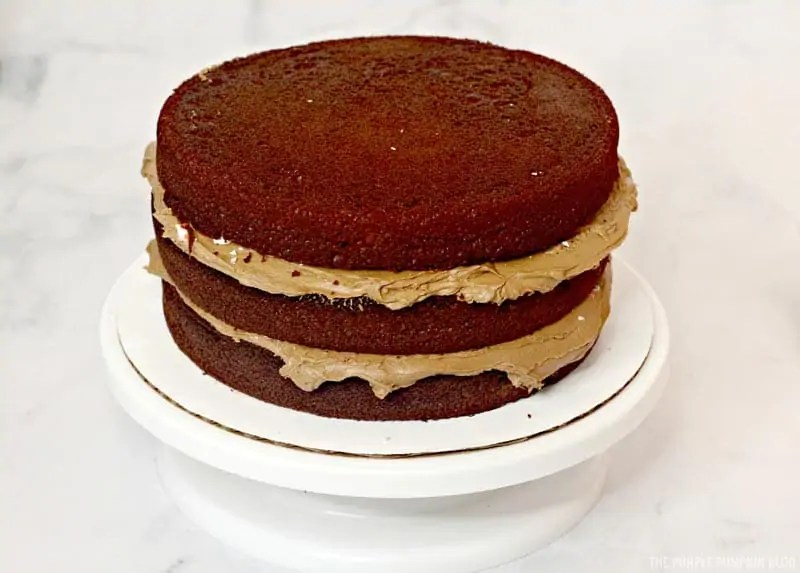 Chocolate cake layered with frosting