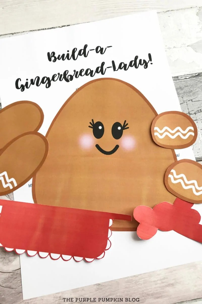 Cut pieces of gingerbread lady printable