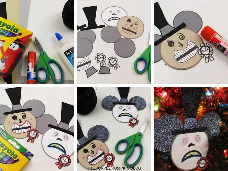 Step by step photos demonstrating how to make a Mayor Christmas ornament