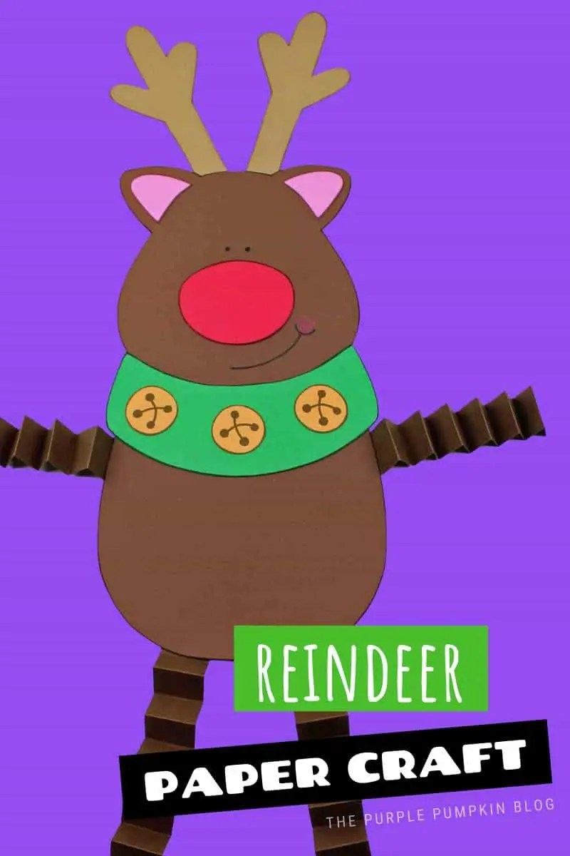 This free printable reindeer paper craft is so cute for winter and the holidays! The reindeer is easy to make with the printable template and construction paper. This bright colorful craft combines cutting and folding skills and is a fun activity for all ages. #PrintableReindeer #ReindeerPaperCraft #ThePurplePumpkinBlog #FreePrintables #PrintableCrafts #ChristmasCrafts #ReindeerCrafts #KidsCrafts #WinterCrafts #ChristmasCraftivities #Crafts