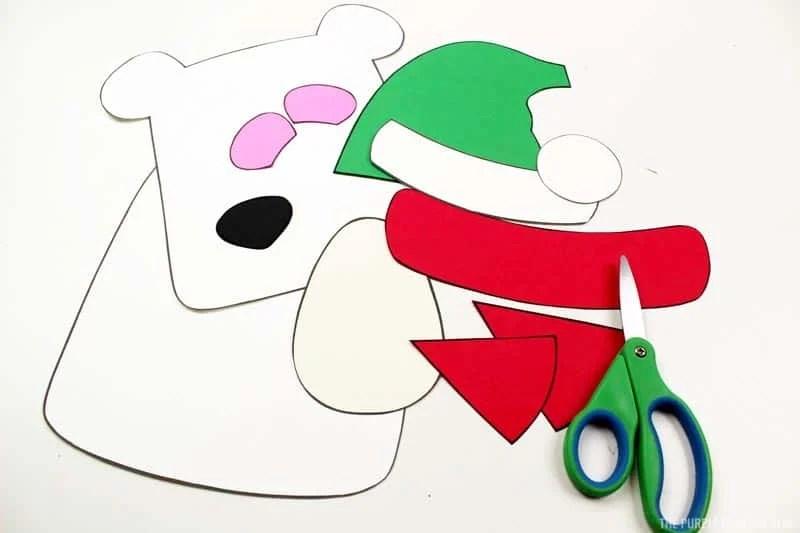 cut polar bear pieces