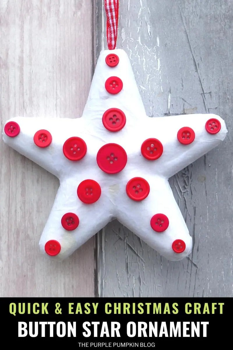 quick and easy Christmas craft button star ornament