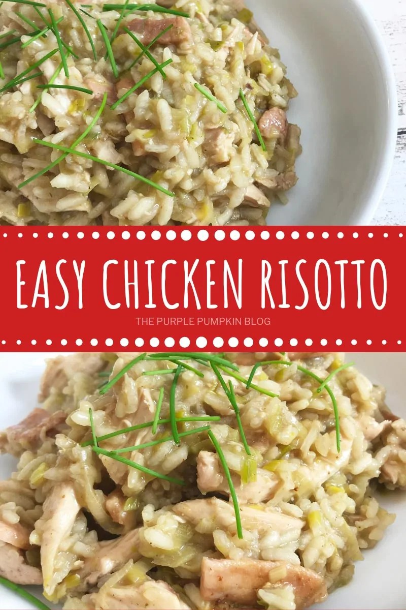 Easy Chicken Risotto - overhead shot and close up