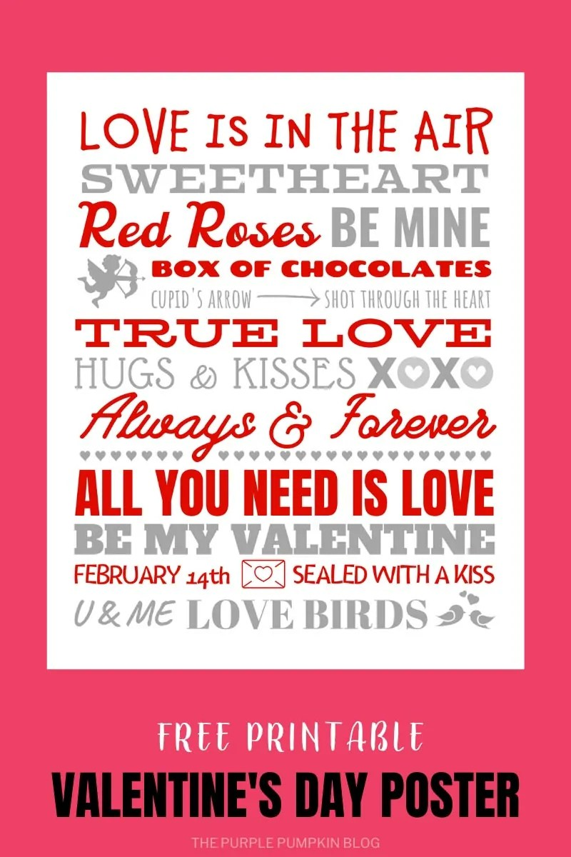 Red & Gray Valentine's Poster