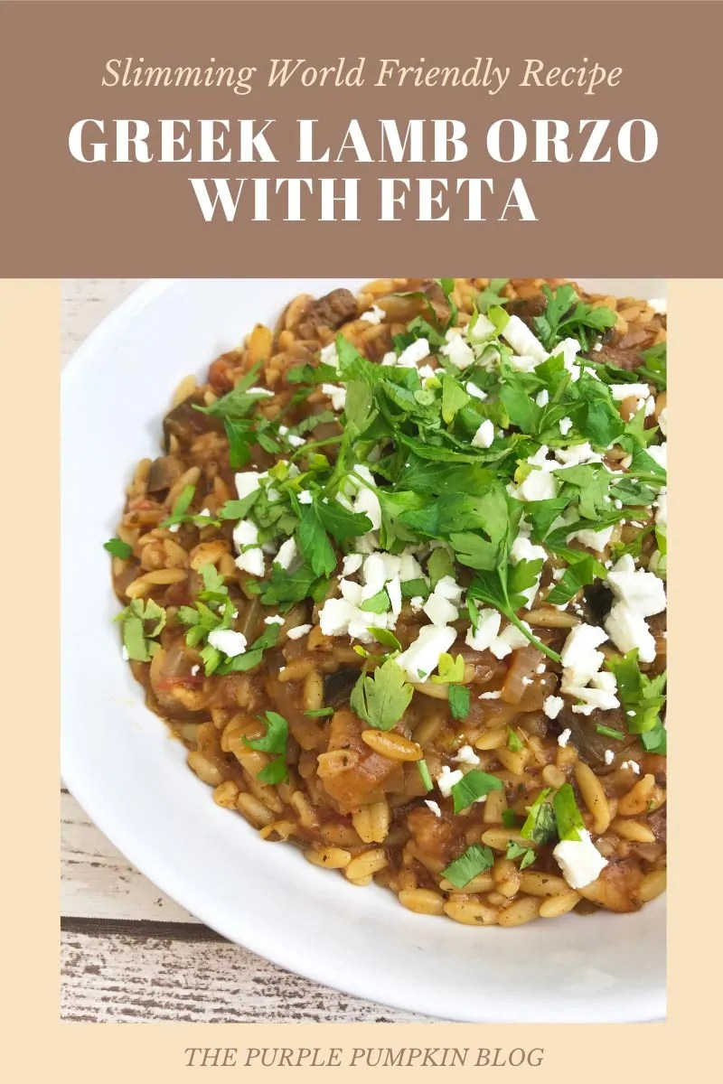 Slimming World Friendly Recipe - Greek Lamb Orzo with Feta. A bowl of the orzo dish with feta and parsley sprinkled on top.