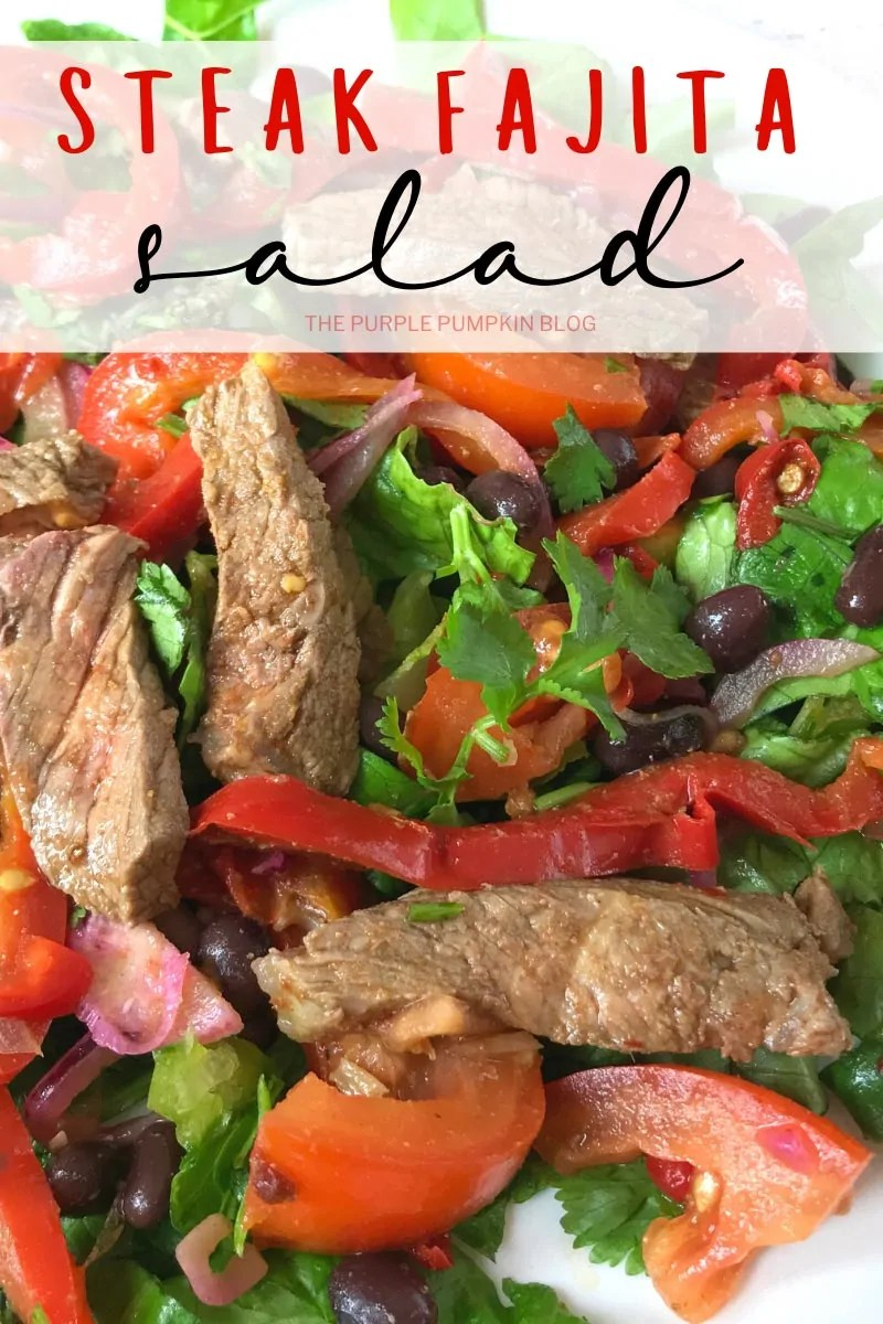 Close up of steak Fajitas salad