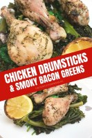 Chicken Drumsticks & Smoky-Bacon Greens