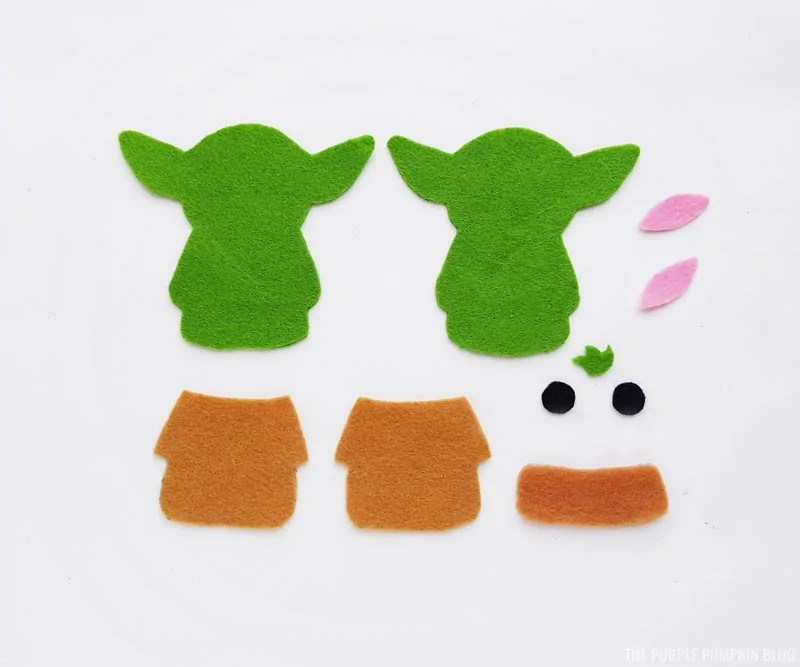 Cut Felt Baby Yoda Pieces