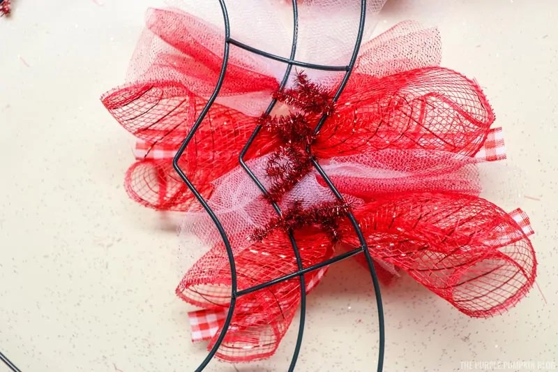 Deco Mesh Tied to Wreath (back)