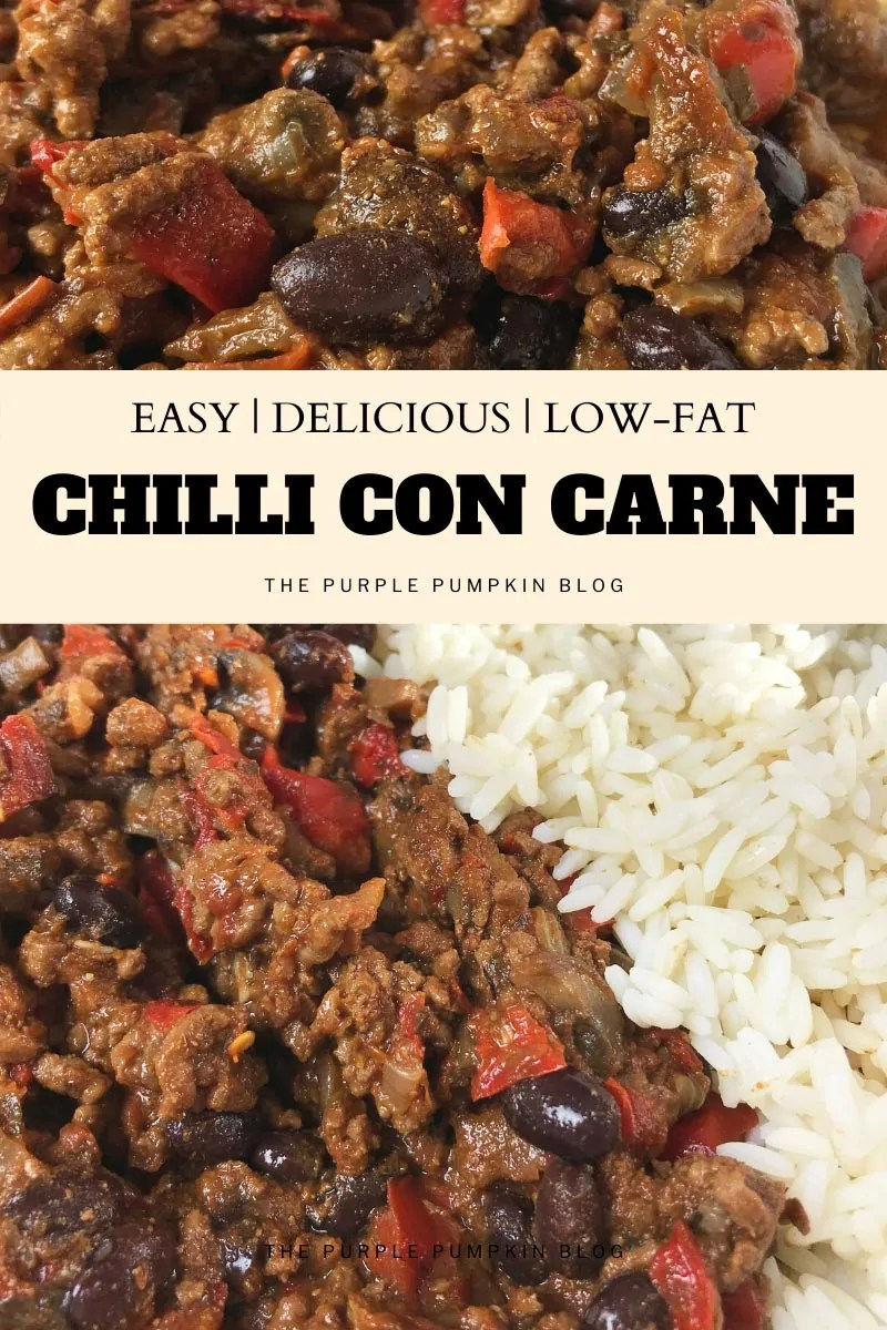 Easy, Delicious Low-Fat Chilli Con Carne. Image of ground beef chilli with red bell peppers and black beans, with white rice on the side. Image variations from same photoshoot throughout.