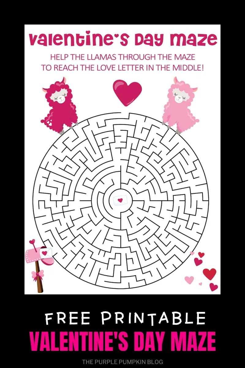 Free Printable Valentine's Day Maze - Hep the llamas reach the love letter!