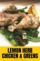 Lemon Herb Chicken Drumsticks & Greens