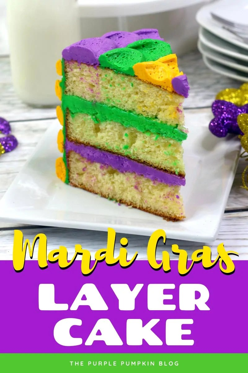 A slice of Mardi Gras cake on a white plate