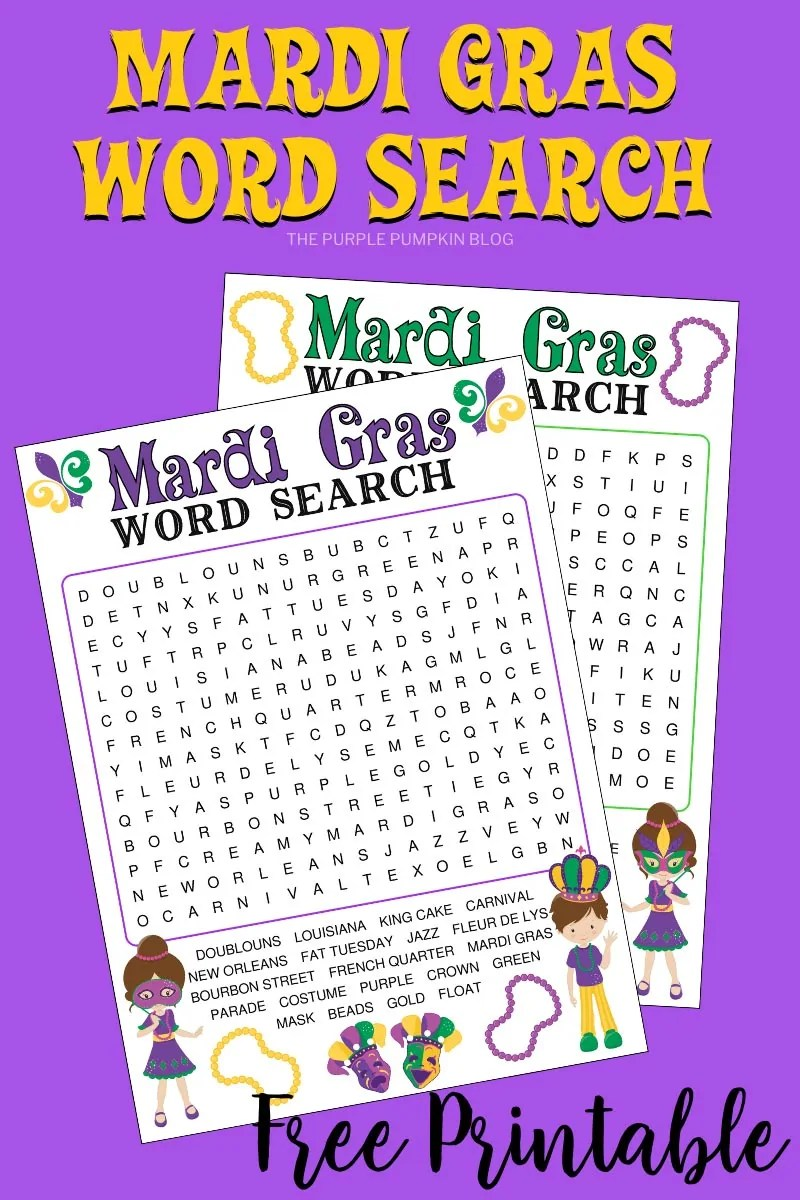 Two Mardi Gras Word Search puzzles on a purple background.