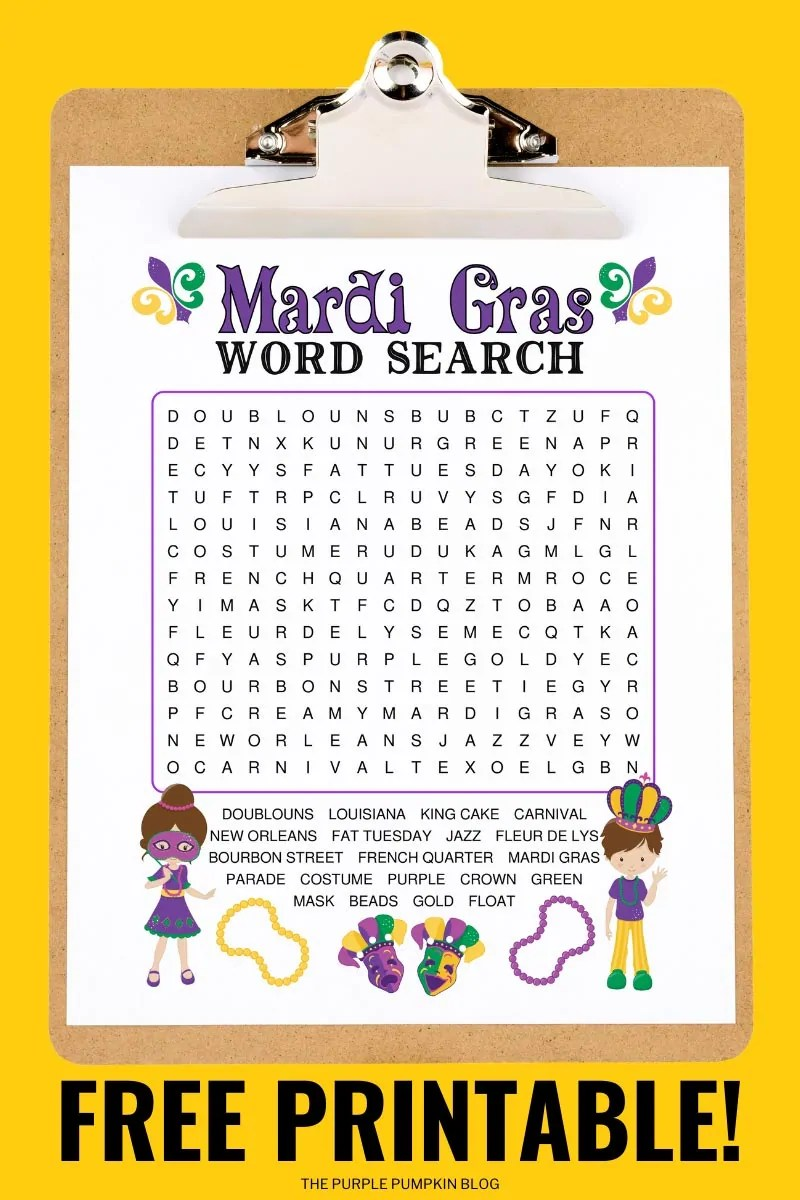 A Mardi Gras Word Search sheet on a clip board on a yellow background.