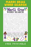 Mardi Gras Wordsearch Free Printable