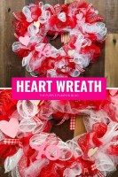 red white & pink heart wreath