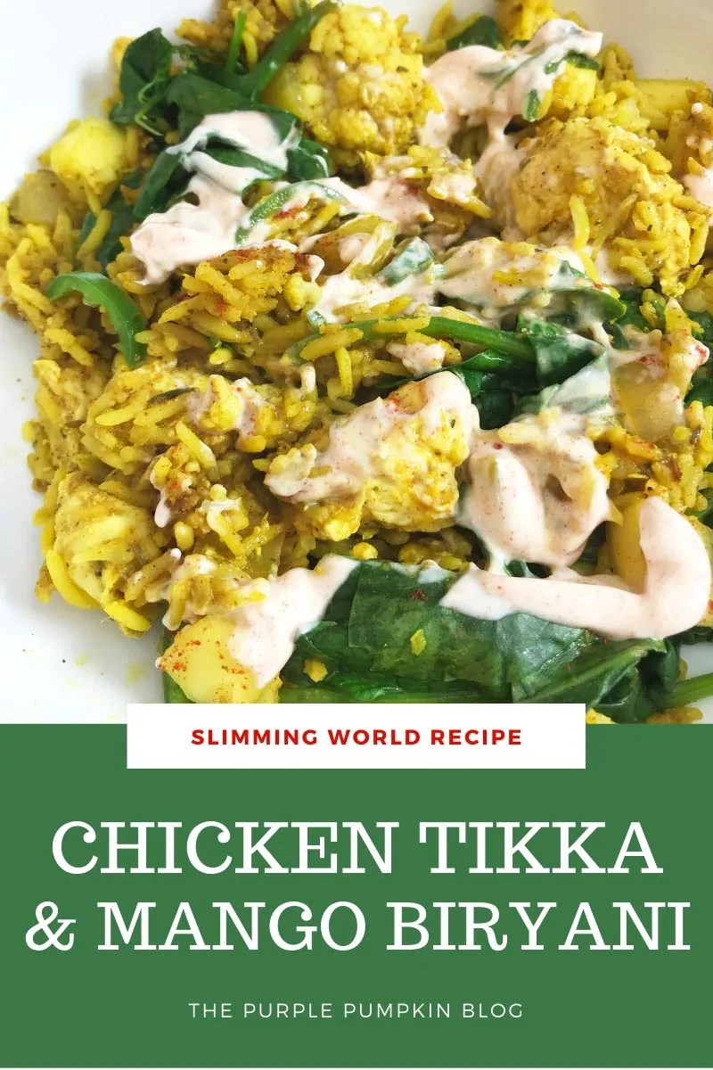 Slimming World Chicken Tikka Biryani with Mango. A white bowl filled with yellow rice and chicken tikka pieces, wilted spinach, green chilies and smoked paprika yogurts swirled through