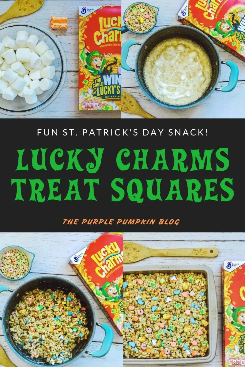Lucky Charms Treat Squares - four pictures of the various stages of making these treats: the ingredients; the melted butter and marshmallows; the cereal stirred into the melted mixture; and the treats pressed into a baking pan.