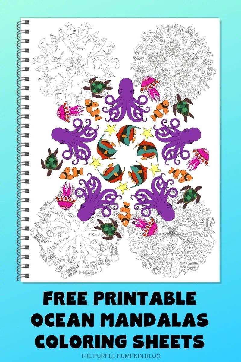 Free Printable Ocean Mandalas Coloring Sheets