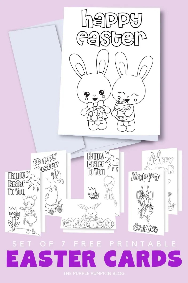 Set of 7 Free Printable Easter Cards