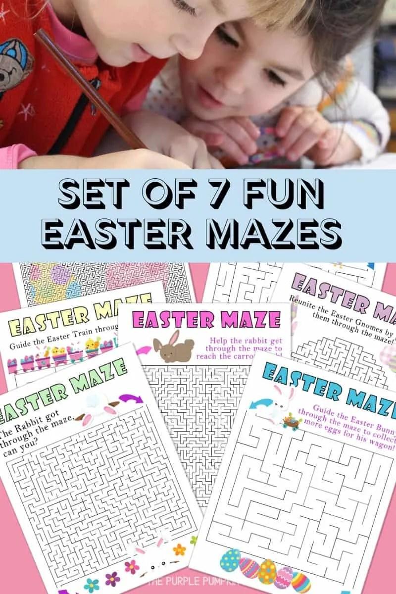 Set of 7 Fun Easter Mazes