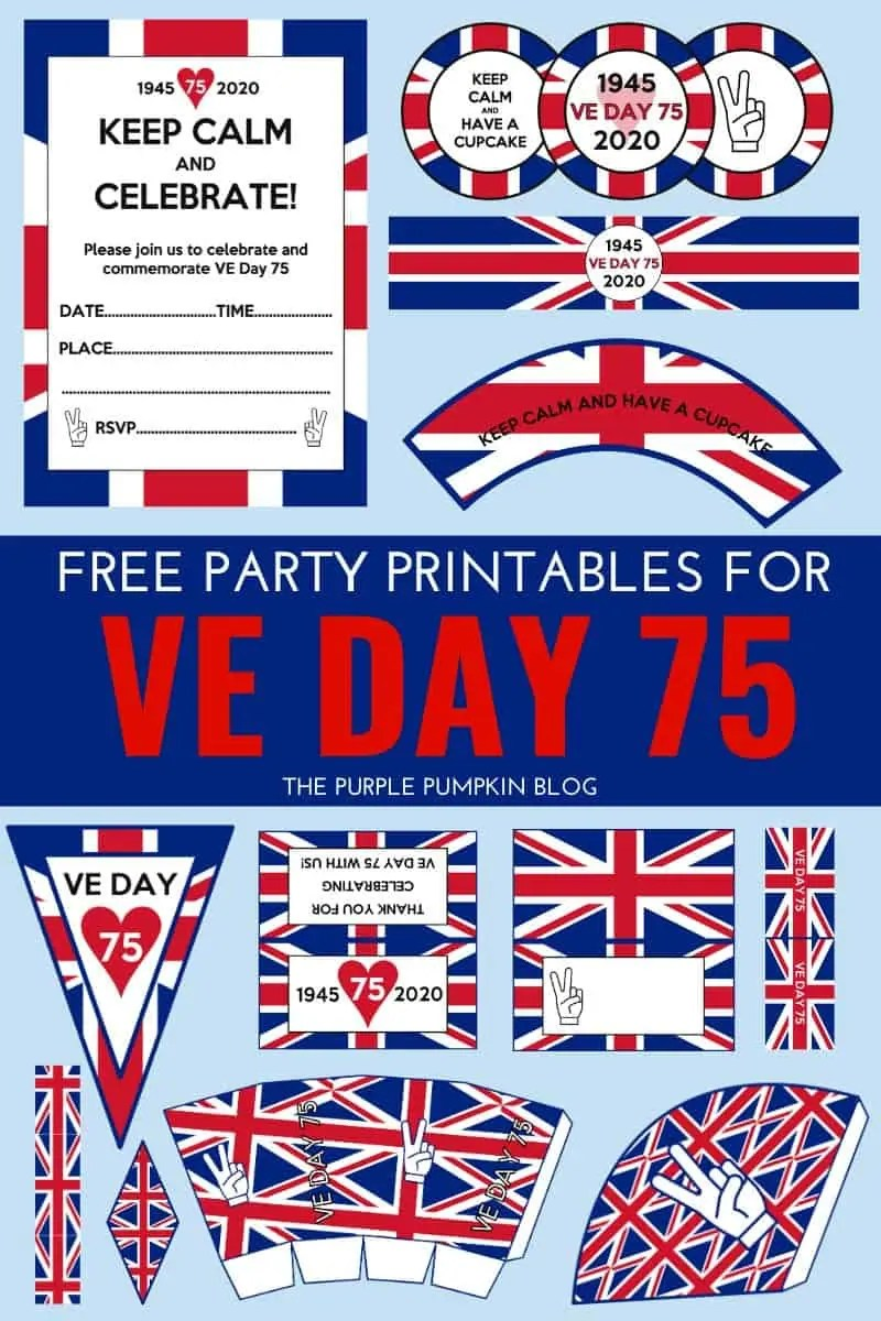 Free Printable VE Day Decorations & Party Printables