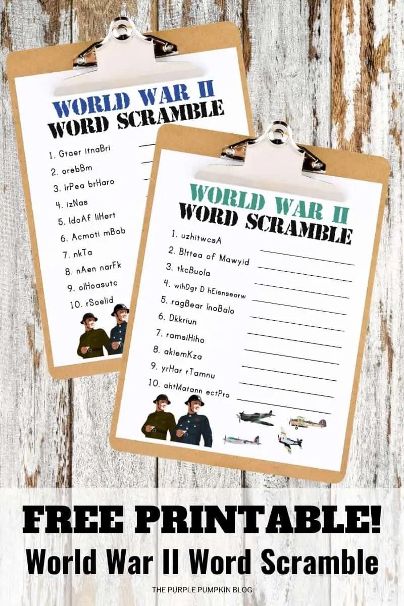 World War II Word Scramble Puzzles