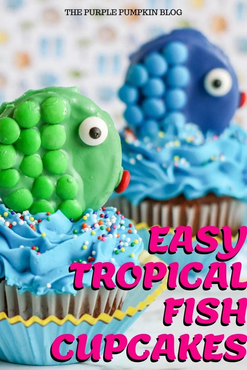 Blue and green tropical fish cupcakes