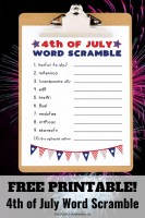 Free Printable 4th of July Word Scramble (2)