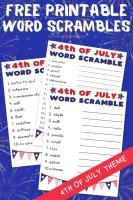 Free Printable Word Scrambles 4th of July Theme