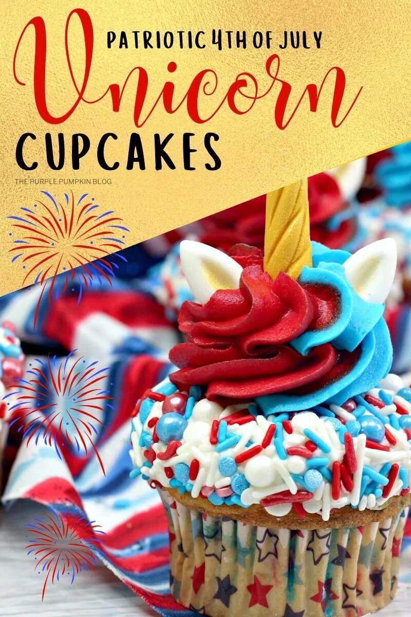 Patriotic 4th of July Unicorn Cupcakes