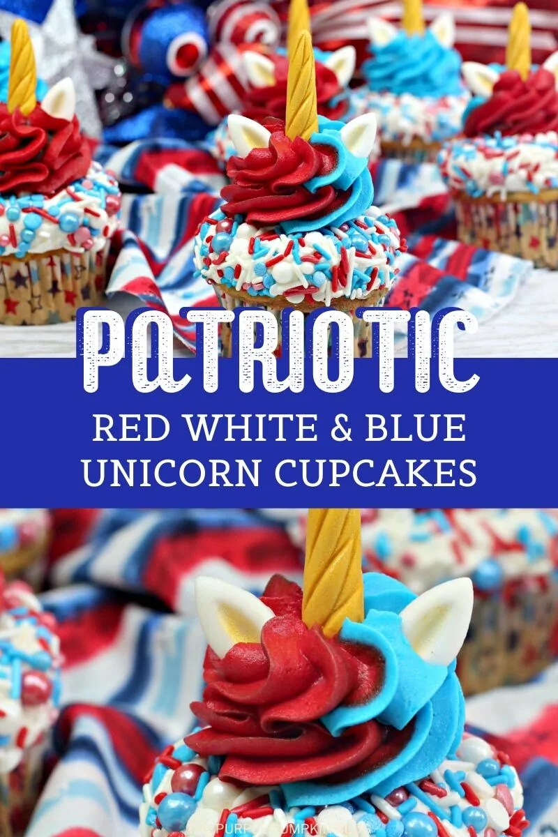 Patriotic Red white and blue unicorn cupcakes