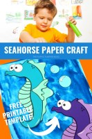 Seahorse Paper Craft - Free Printable Template