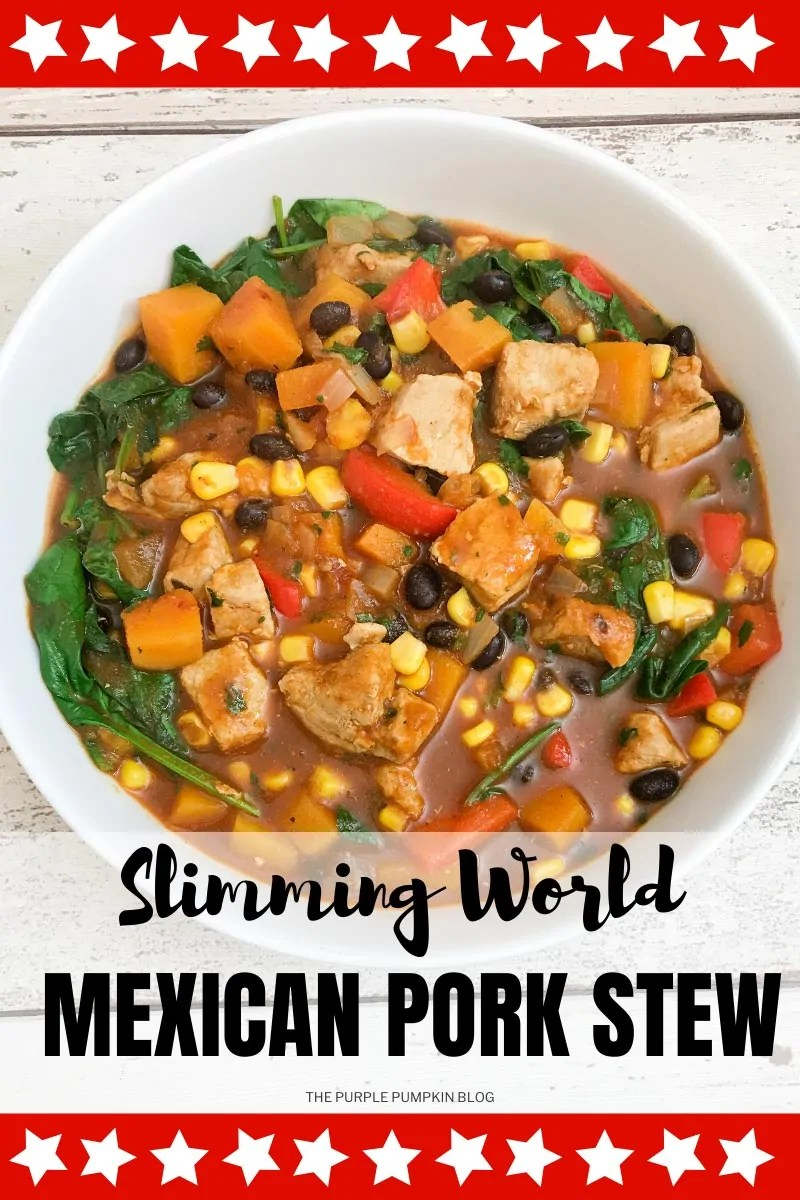 A bowl of Mexican pork stew with a variety of vegetables and black beans. Text overlay says