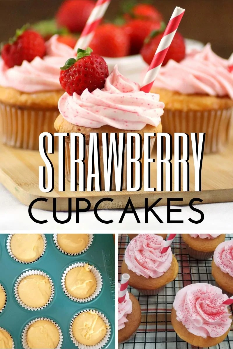 3 photos in a collage - completely decorated cupcake followed by cupcake batter in liners in a pan, and frosted cupcakes on a cooling rack.