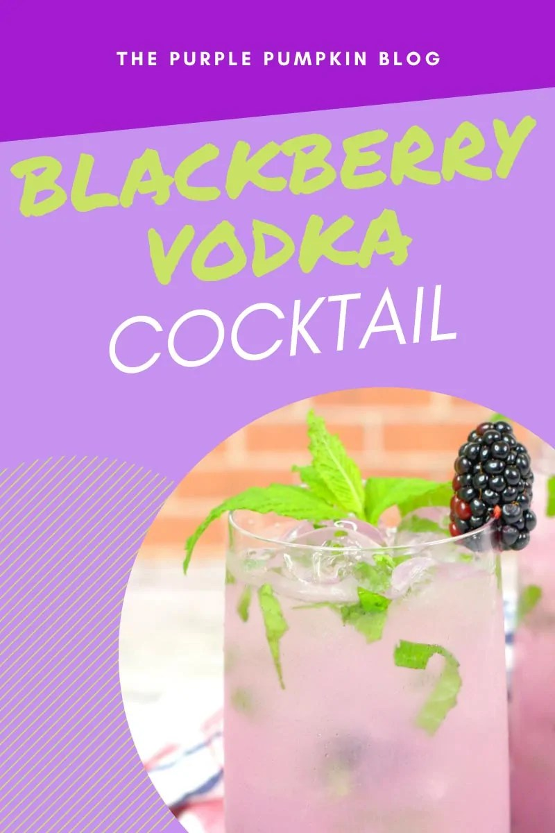 A glass of blackberry vodka cocktail garnished with fresh mint and a fresh blackberry on the glass rim. Same drink featured throughout the post with different text overlays.