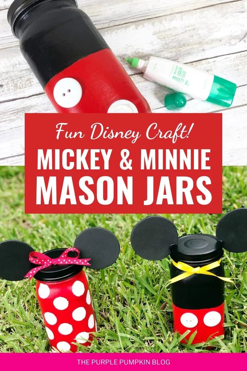Fun Disney Craft - Mickey & Minnie Mason Jars