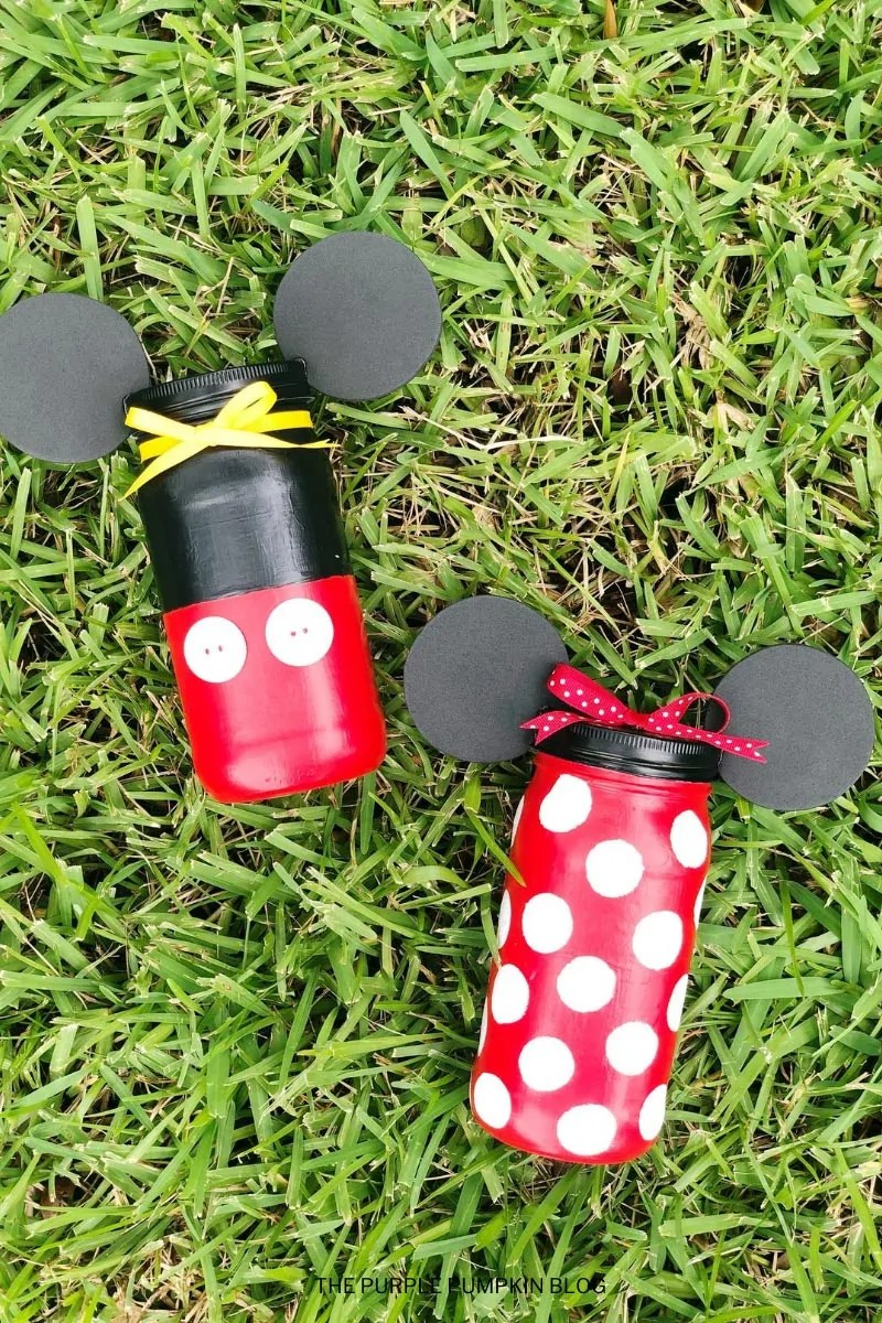 Homemade Mickey Minnie Mouse Mason Jars