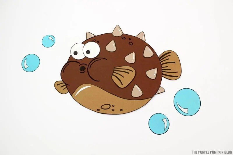Completed paper puffer fish craft