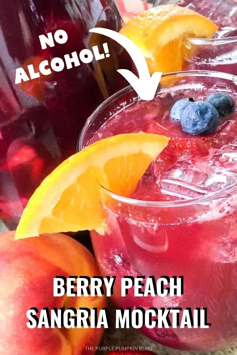 No Alcohol Berry Peach Sangria Mocktail