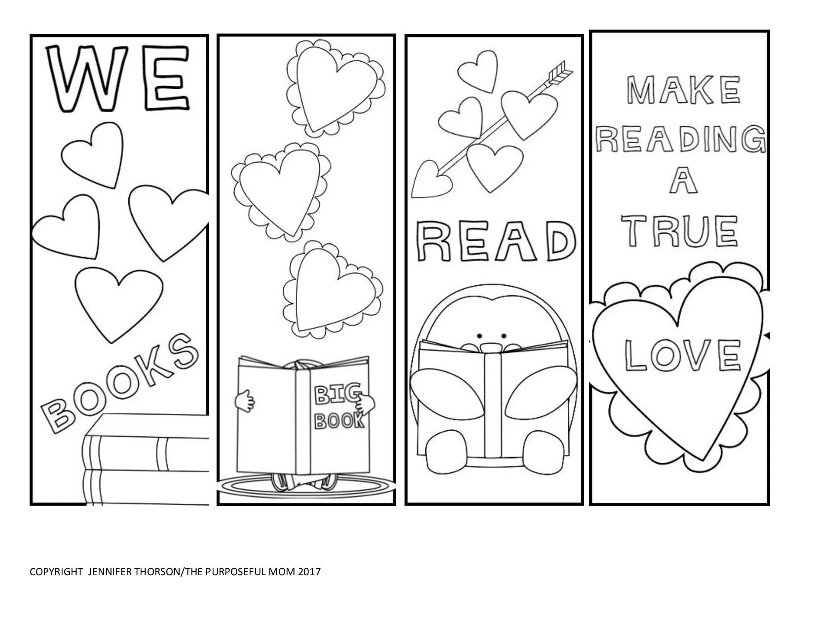 Free Valentine S Day Bookmarks To Color