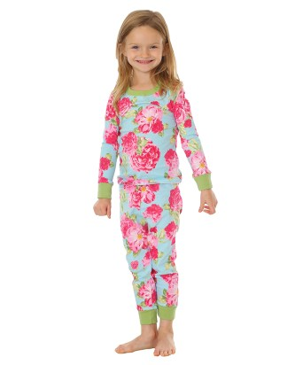 Girls Summer Cabbage Rose PJs